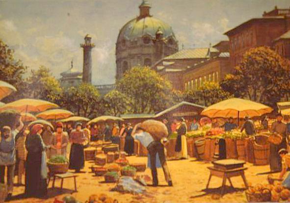 Richard Pokorny - Alt Wien, Karlskirche mit Markt